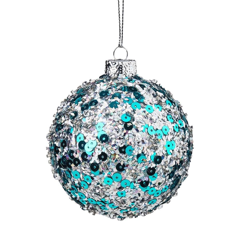 HANG ON Vánoční koule třpytivá 8 cm - sv. modrá