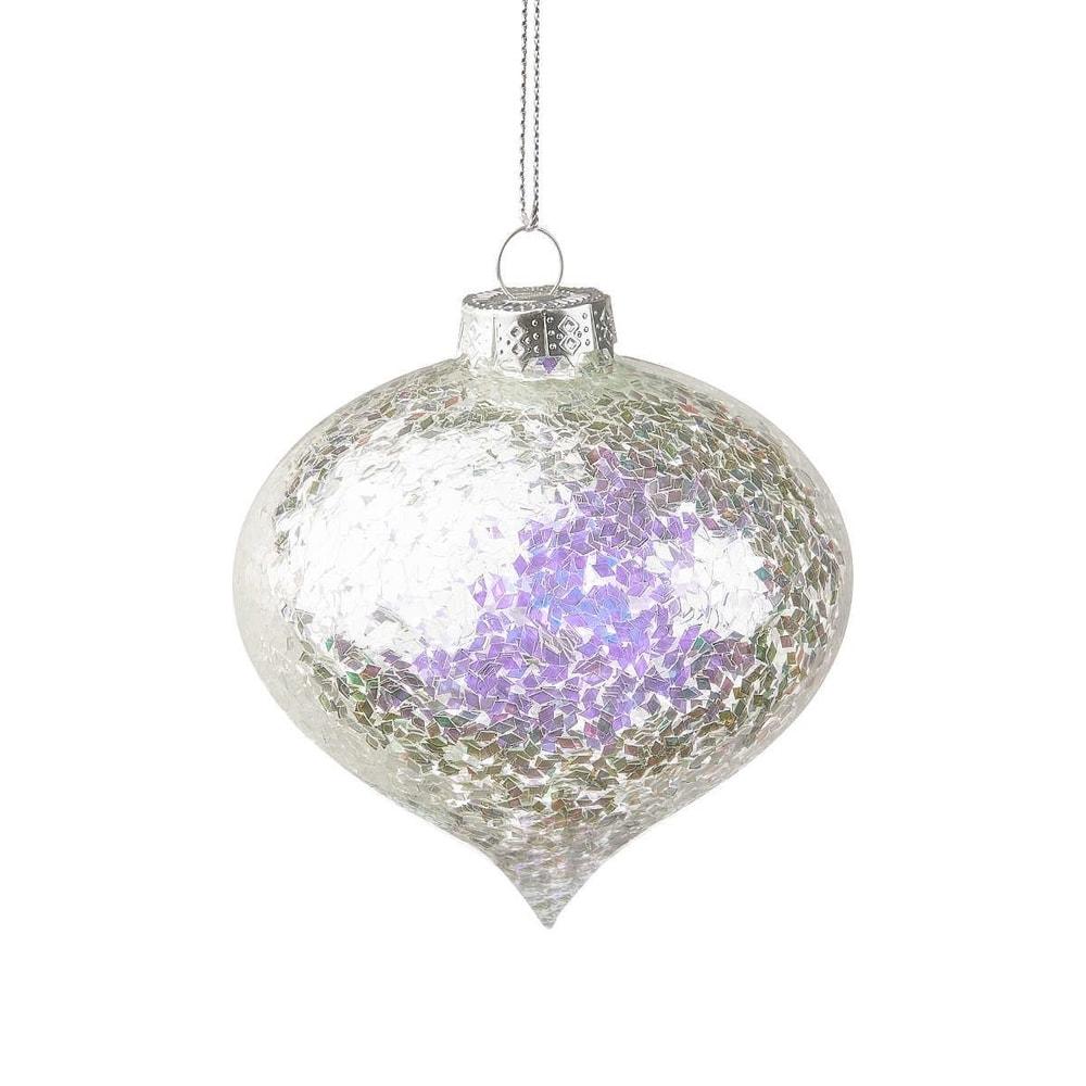 HANG ON Vánoční baňka zdobená 8 cm - stříbrná
