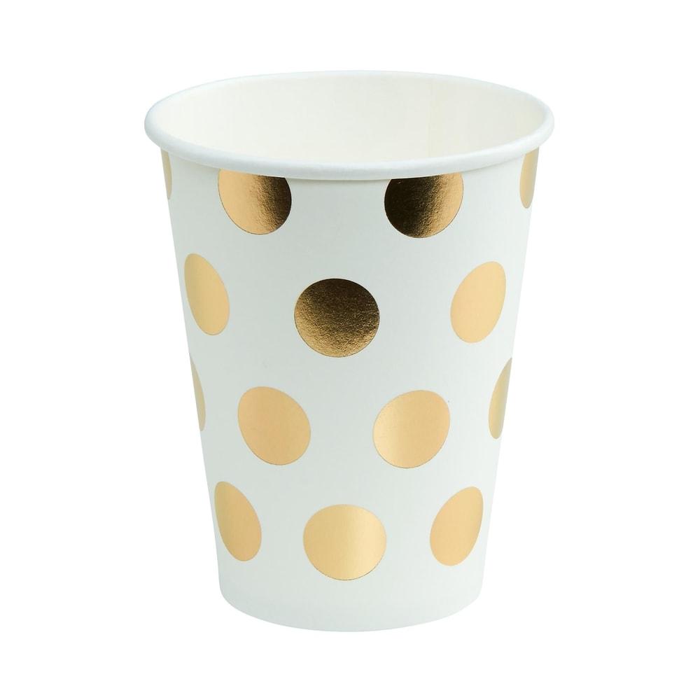 Produktové foto GOLDEN DOTS Papírové kelímky zlaté puntíky 300 ml