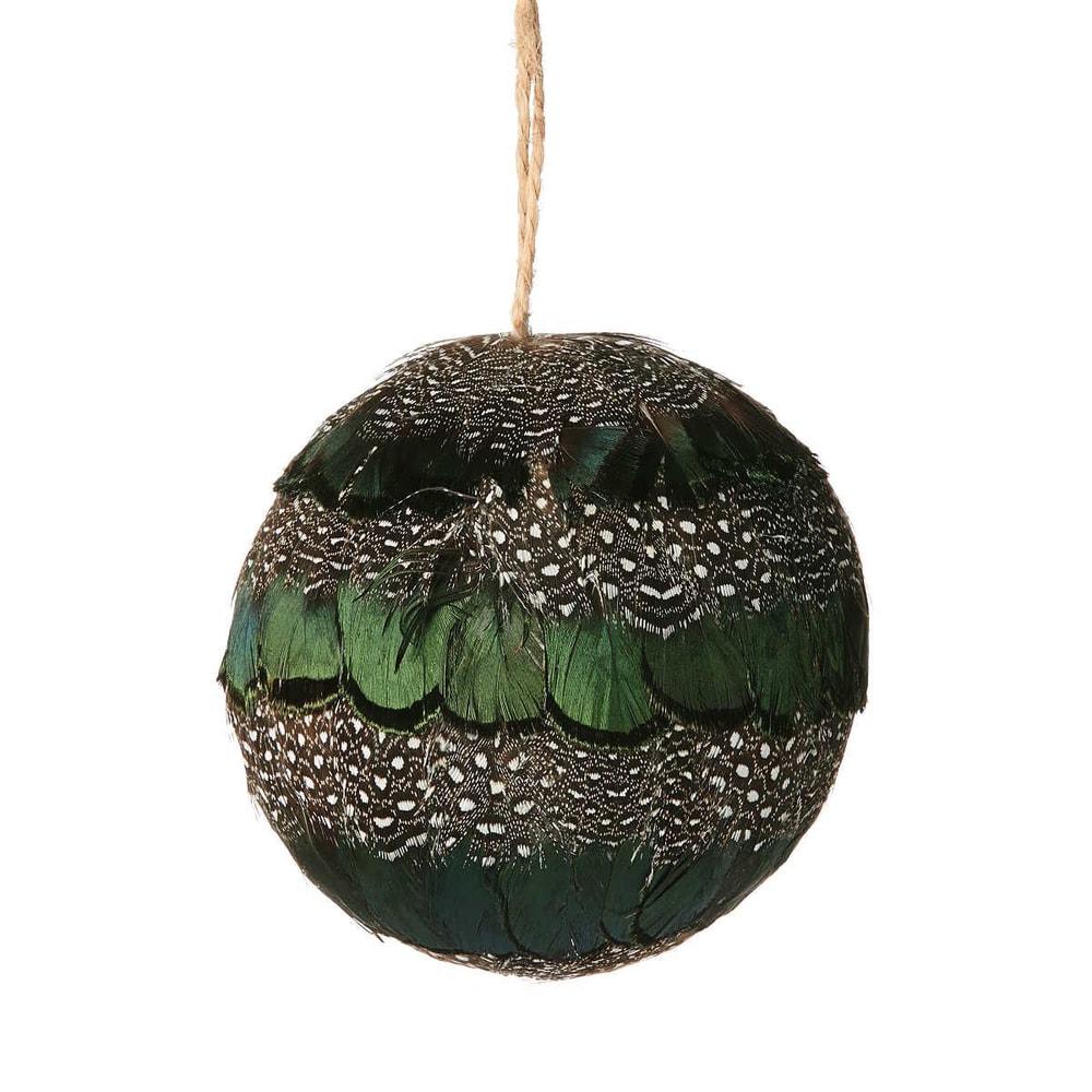 HANG ON Vánoční koule s peřím 8 cm - zelená