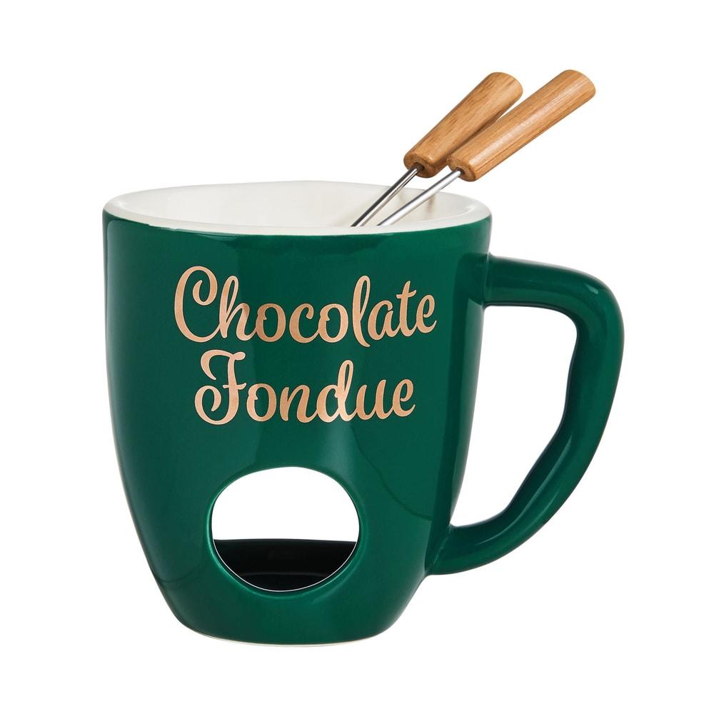 CHOCOLATE FONDUE Hrnek se 2 vidličkami - zelená
