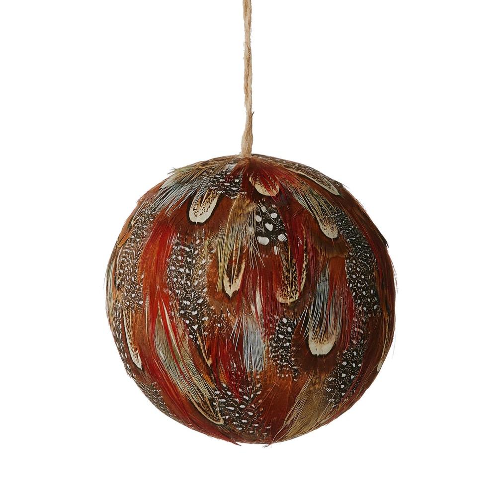 HANG ON Vánoční koule s peřím 8 cm - hnědá