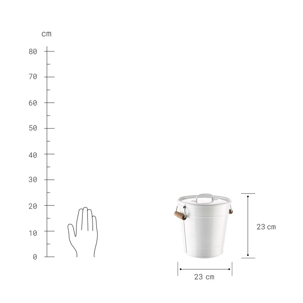 Produktové foto ZINC Kbelík s víkem 7 l - bílá