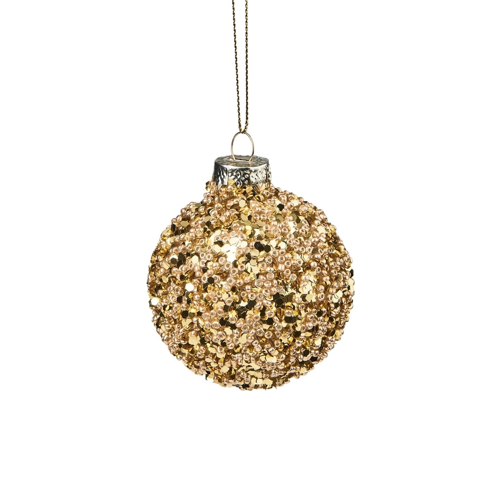 HANG ON Vánoční koule s perlami 6 cm - zlatá