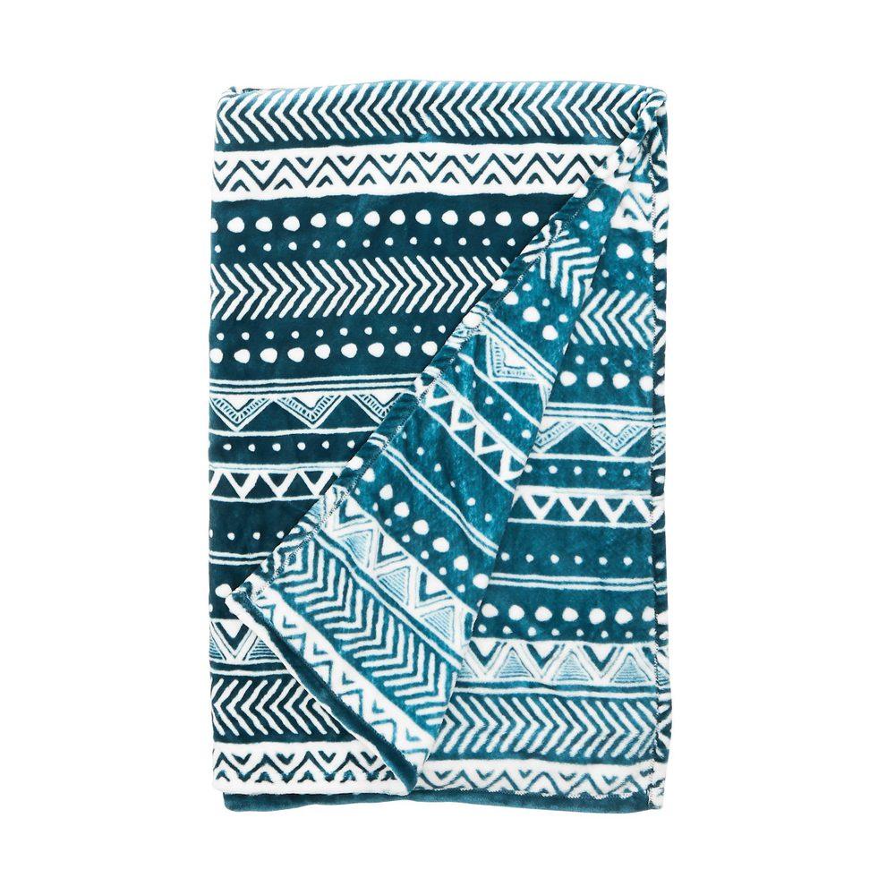 SAVAGE Deka etno vzor 150 x 200 cm - modrá/bílá