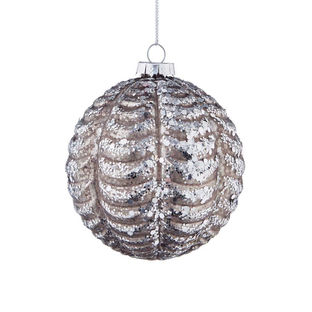 HANG ON Vánoční koule 8 cm - šedá/stříbrná