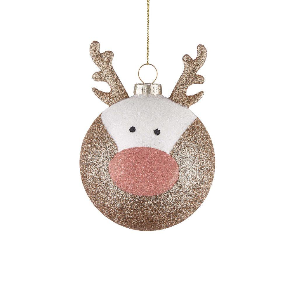 HANG ON Vánoční koule jelen třpytivá 8 cm