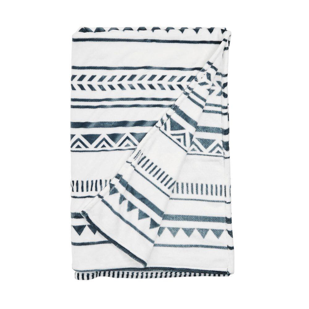SAVAGE Deka etno vzor 150 x 200 cm - bílá/modrá
