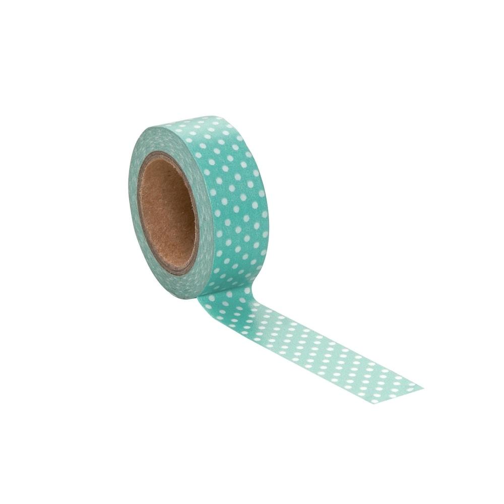TAPE Lepicí páska puntíky - mátová/bílá