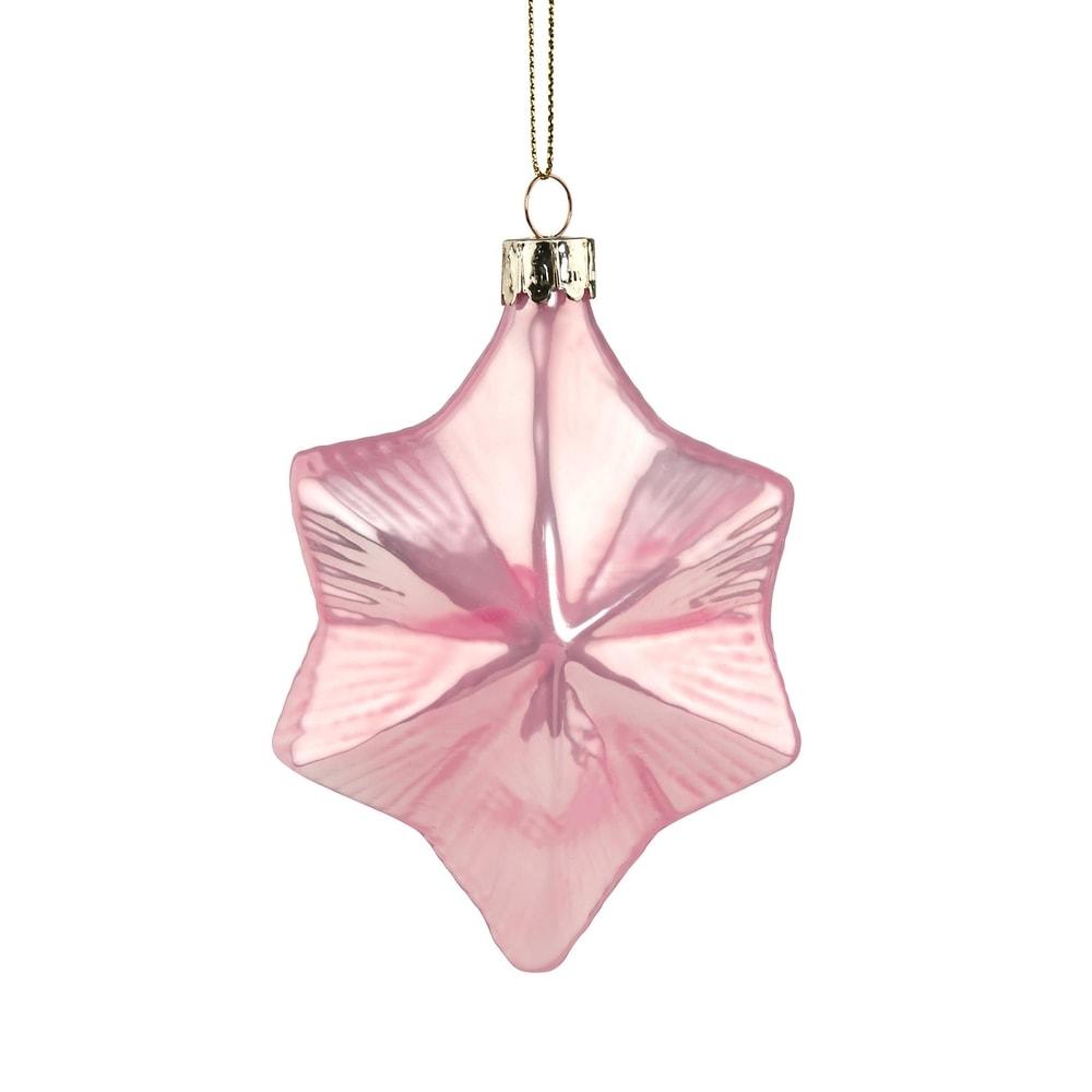 HANG ON Skleněná ozdoba hvězda 10 cm - růžová
