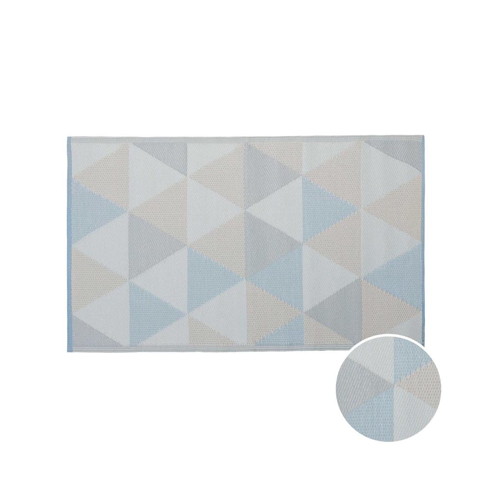 COLOUR CLASH Vnitřní a venkovní koberec trojúhelníky 150 x 90 cm - pastelově modrá