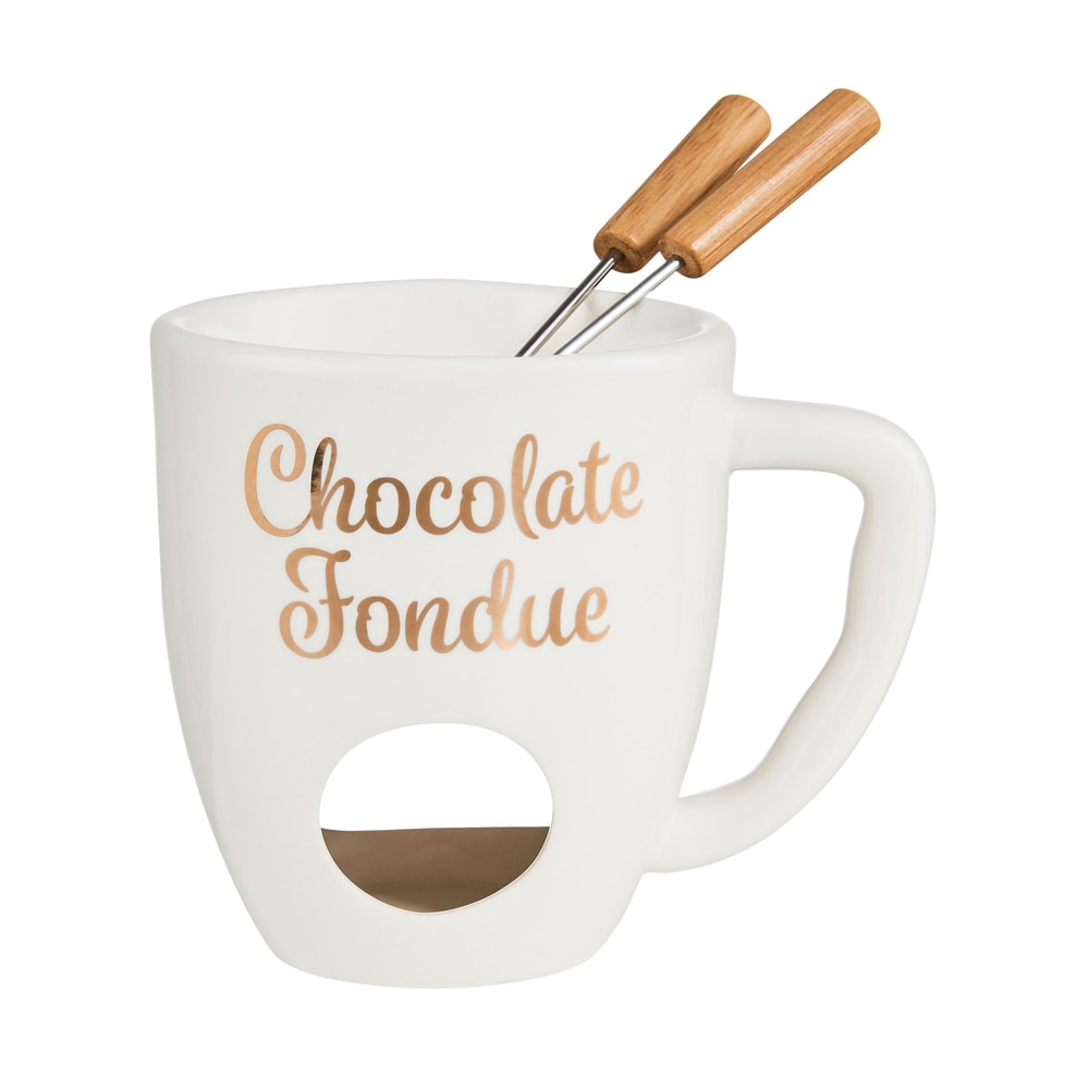 CHOCOLATE FONDUE Hrnek se 2 vidličkami - bílá