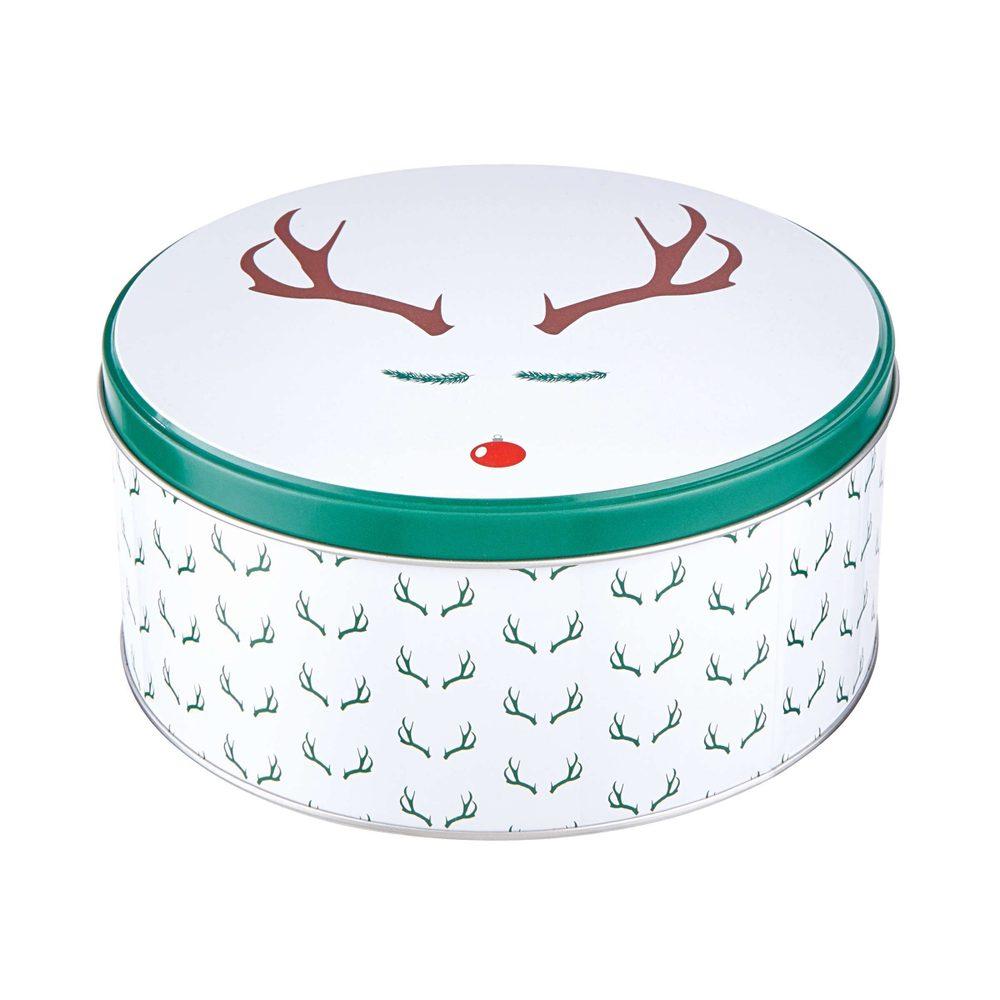 COOKIE JAR Plechová dóza kulatá sob Rudolf 16,7 cm - bílá