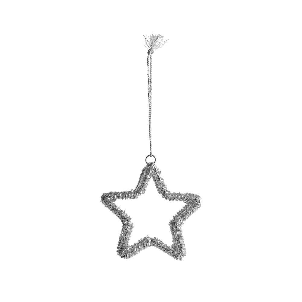 HANG ON Vánoční ozdoba 3D hvězda s perlami 8 cm