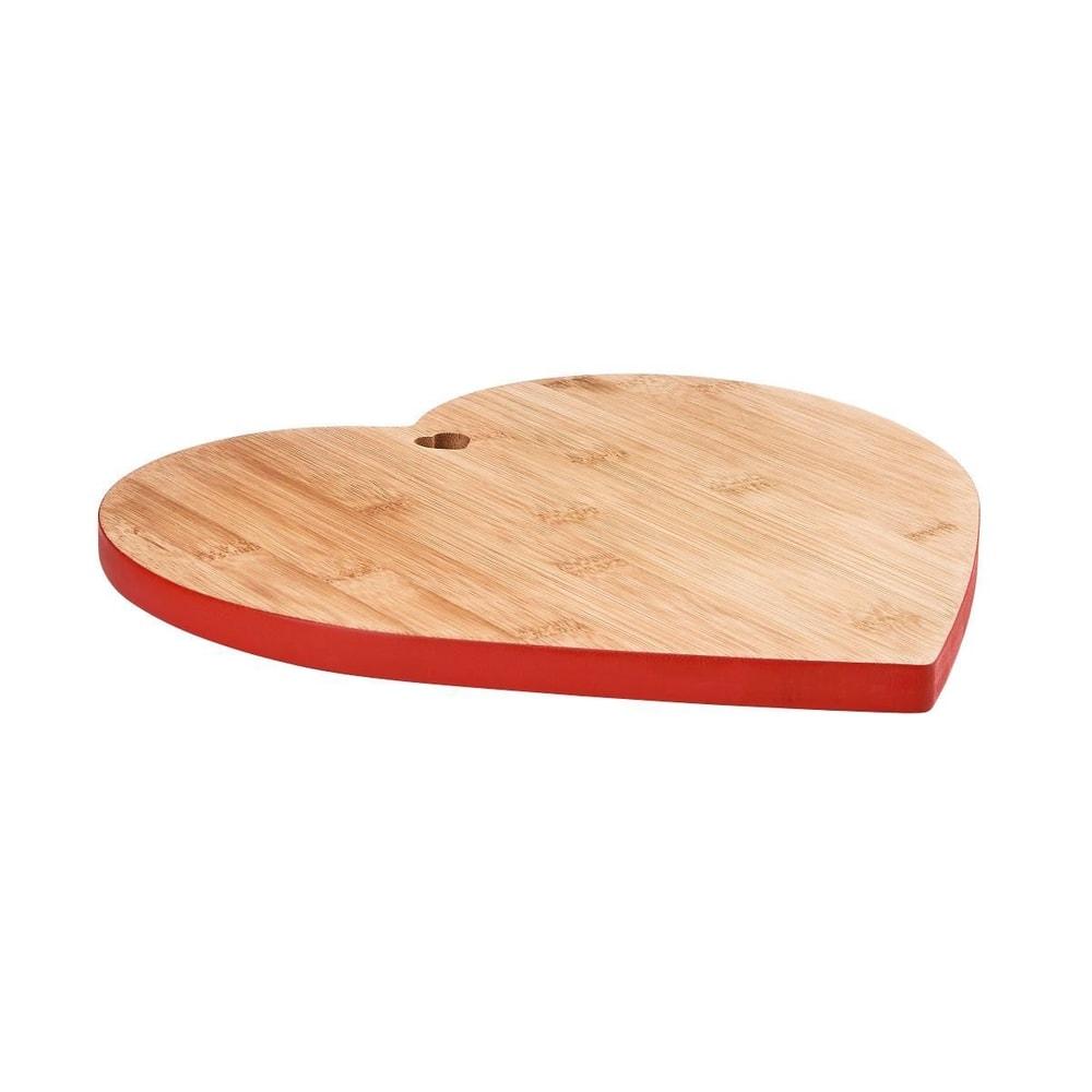 BAMBOO Bambusové prkénko srdce - červená