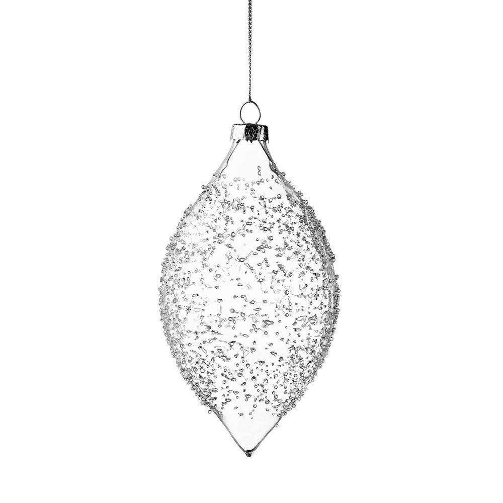 HANG ON Ozdoba vánoční koule zdobená 8 cm - čirá