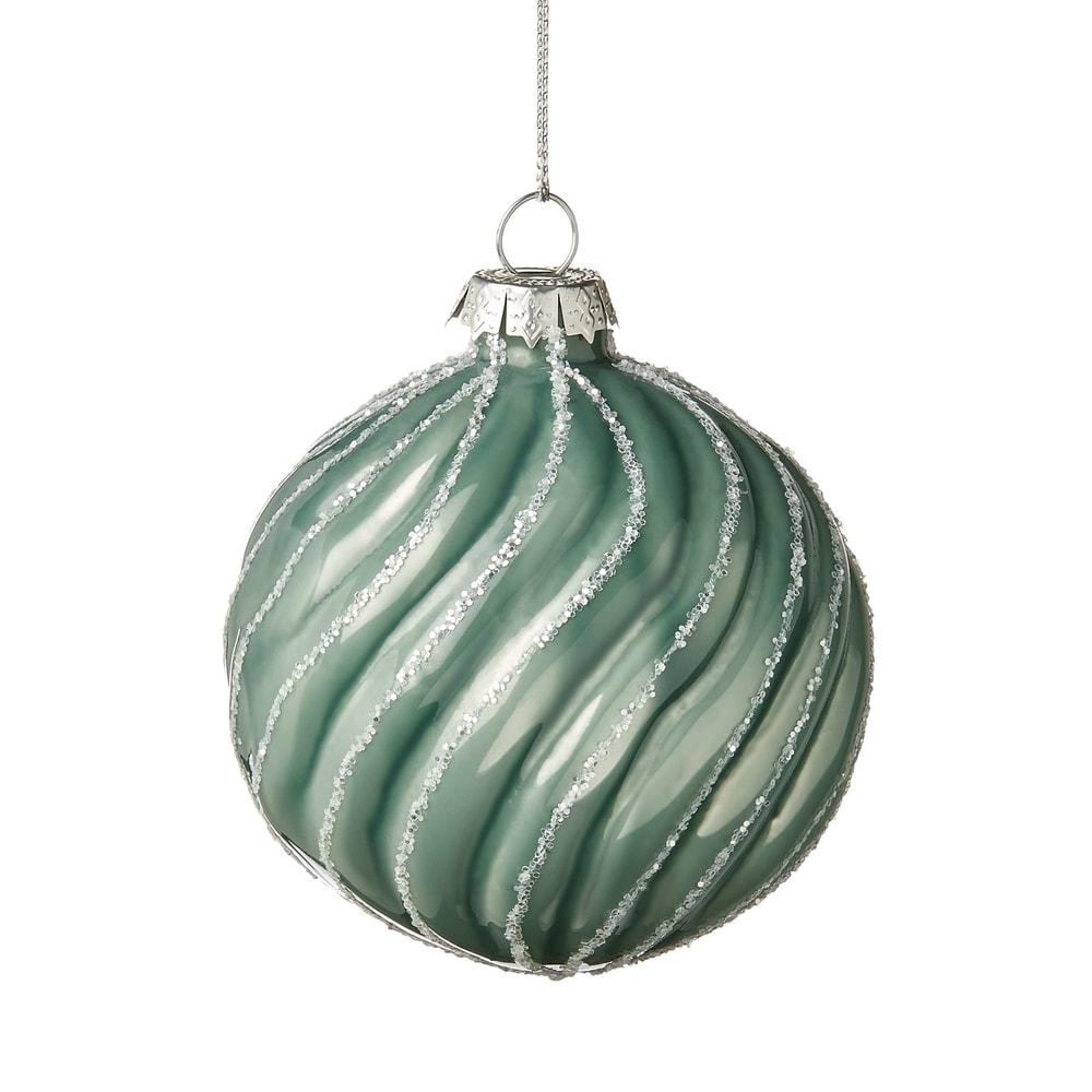 HANG ON Ozdoba vánoční koule rýhaná 8 cm