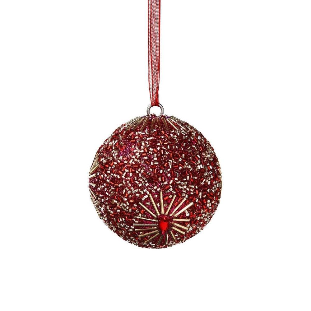 HANG ON Vánoční koule s perlami 8 cm - růžová