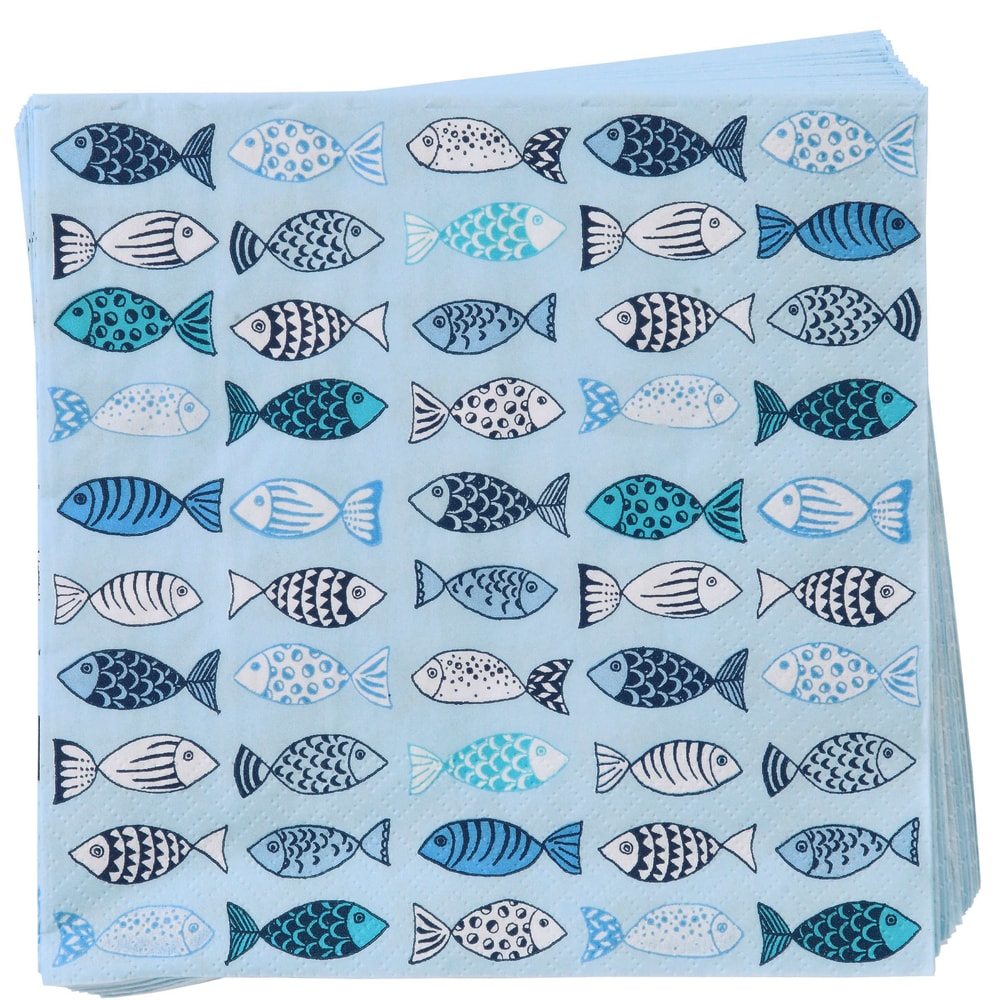 Fotografie APRÉS Papírové ubrousky ryby - modrá