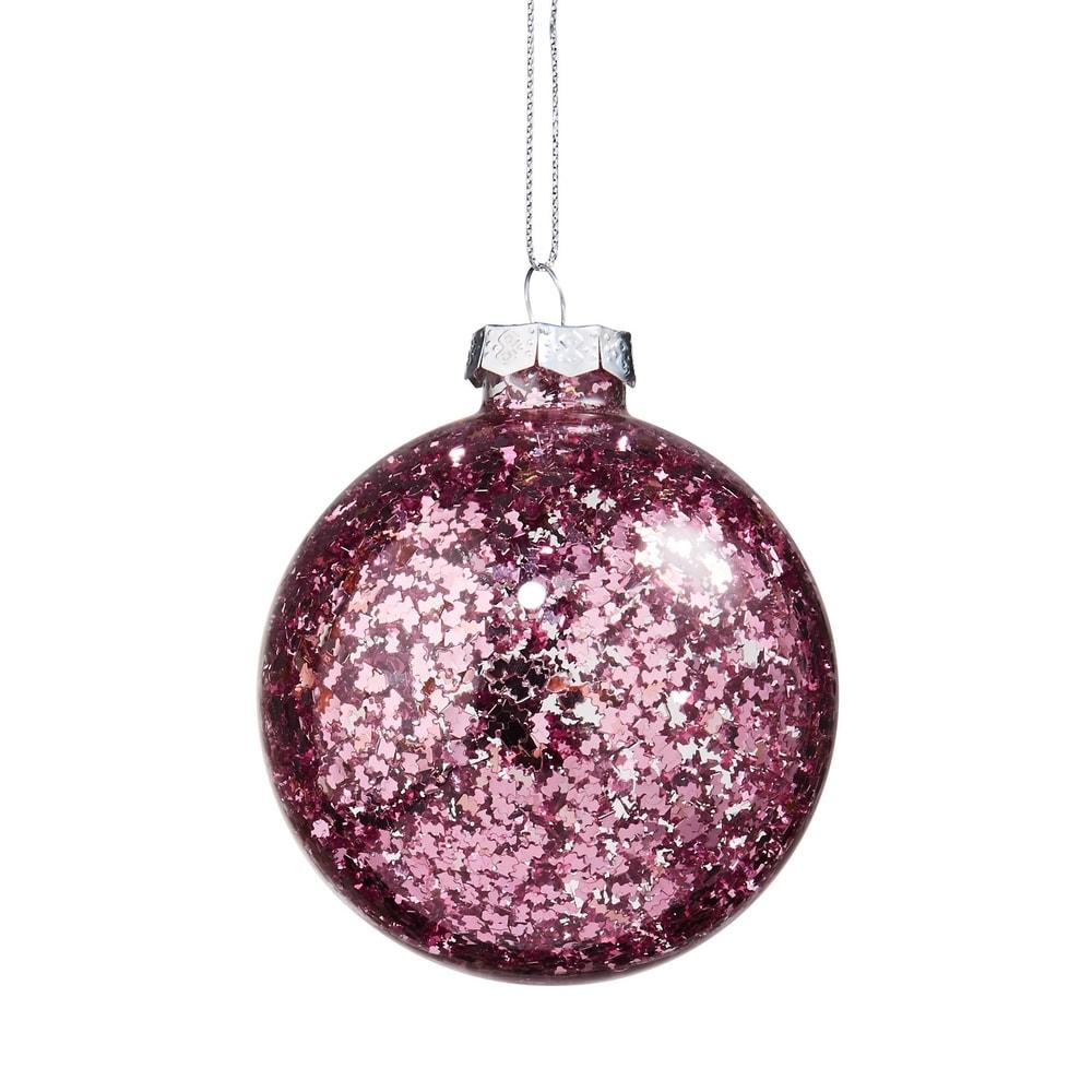 HANG ON Vánoční koule s třpytkami 8 cm - růžová