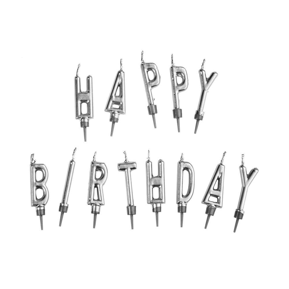 HAPPY BIRTHDAY Svíčky na dort set - stříbrná