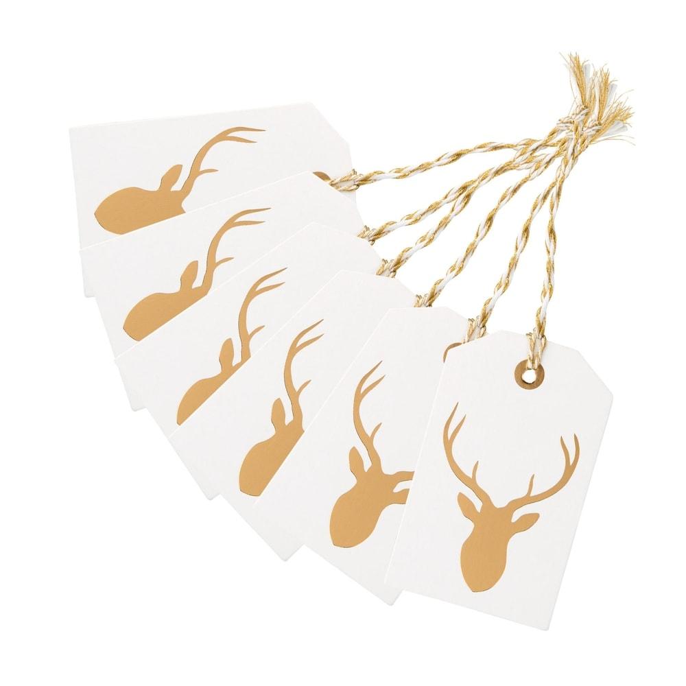 X-MAS Jmenovky na dárky hlava jelena, set 6 ks