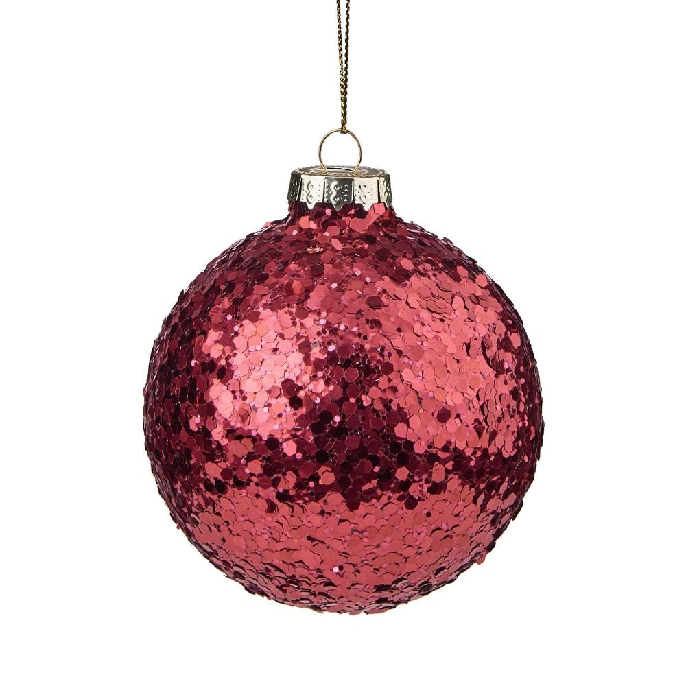HANG ON Vánoční koule se třpytkami 8 cm - červená
