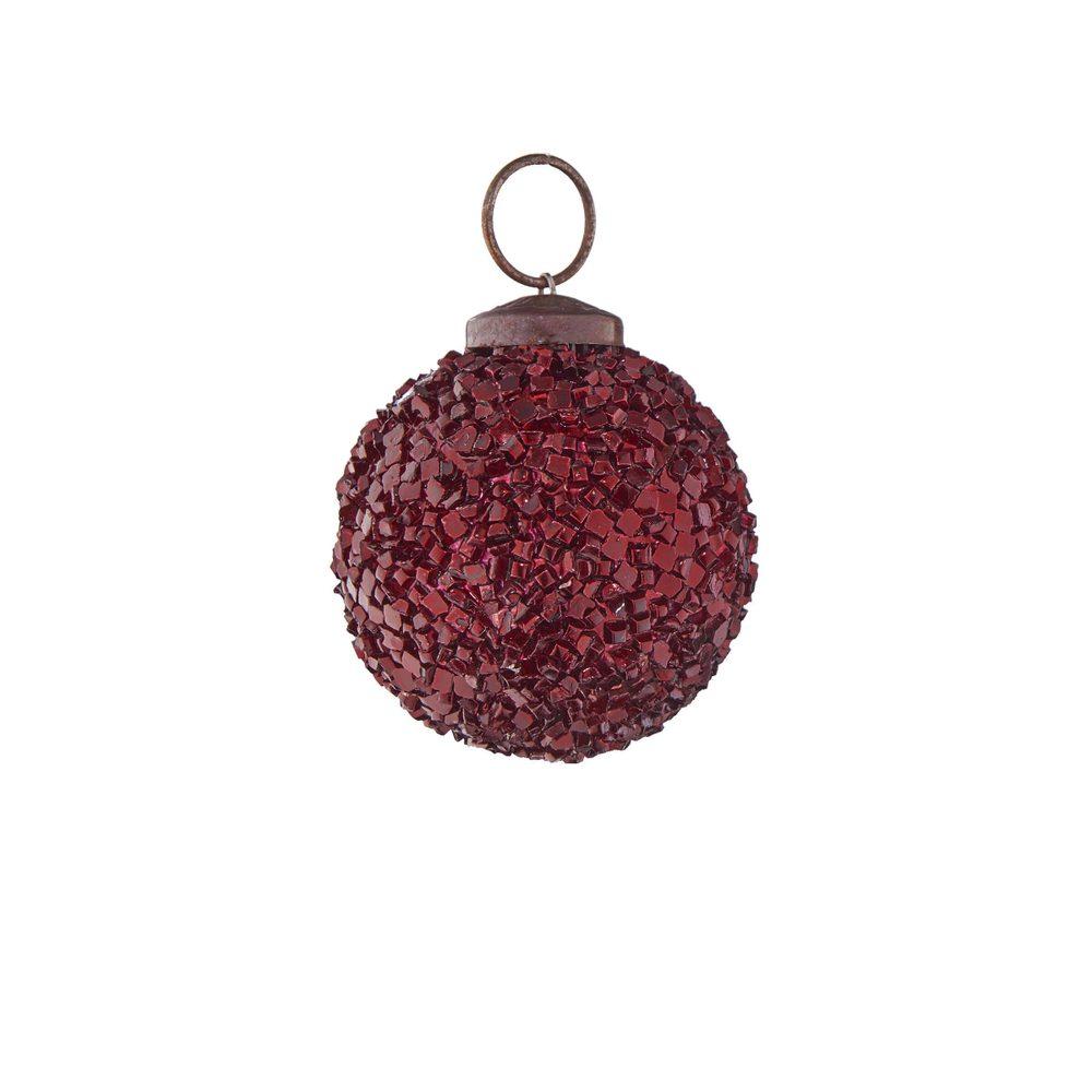 HANG ON Vánoční koule popraskaný dekor 5 cm - tm. červená