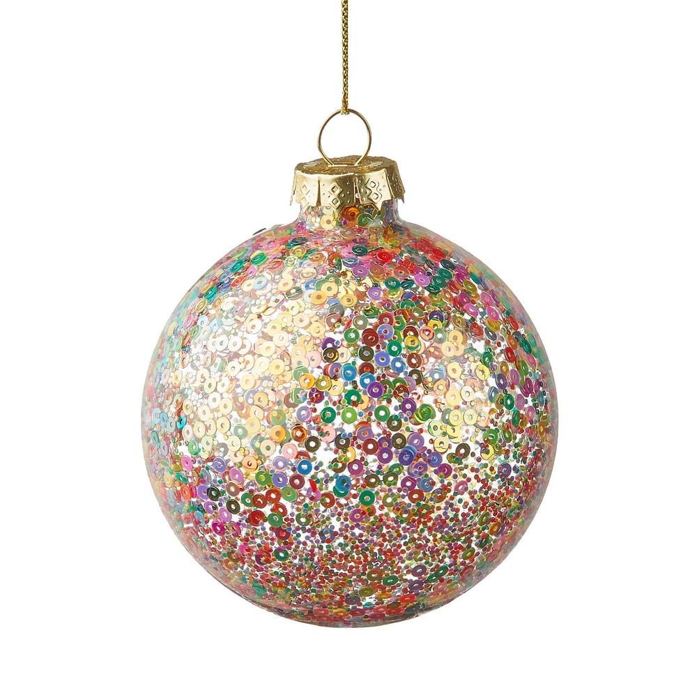 HANG ON Vánoční koule třpytivá 8 cm - mix