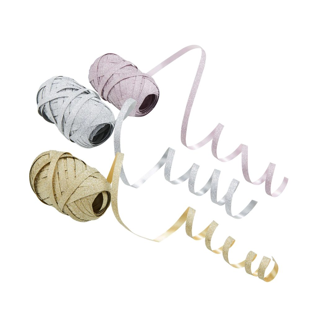 RIBBON Stuha set 3 ks - růžová/stříbrná/zlatá