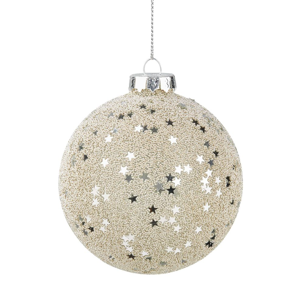 HANG ON Vánoční koule hvězdy 8 cm set 4 ks - stříbrná