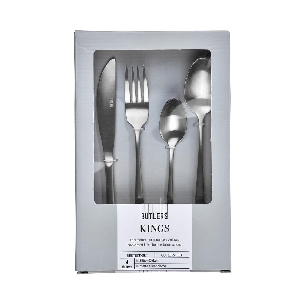 KINGS Příbory set 4 ks - stříbrná