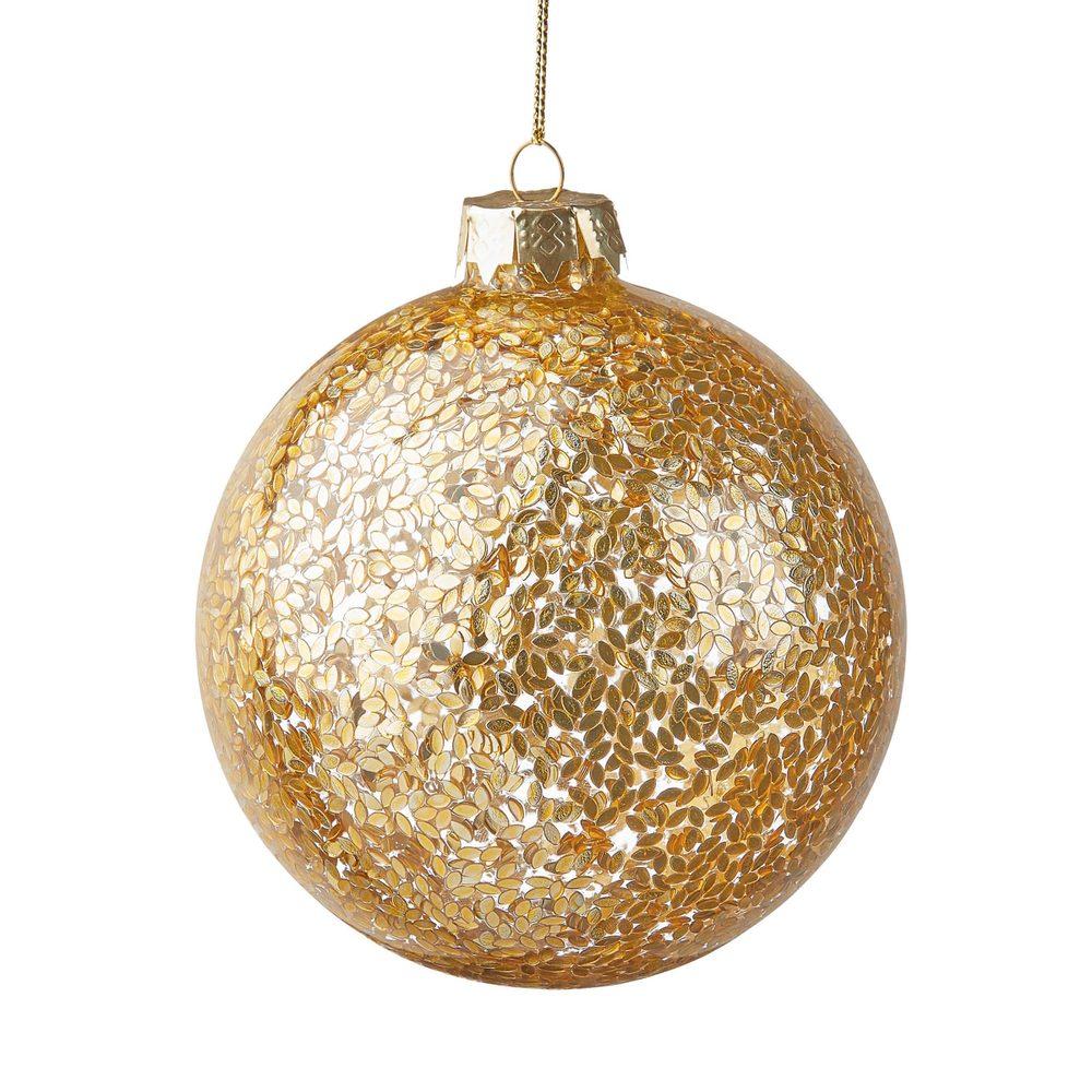 HANG ON Ozdoba vánoční koule lístek 10 cm