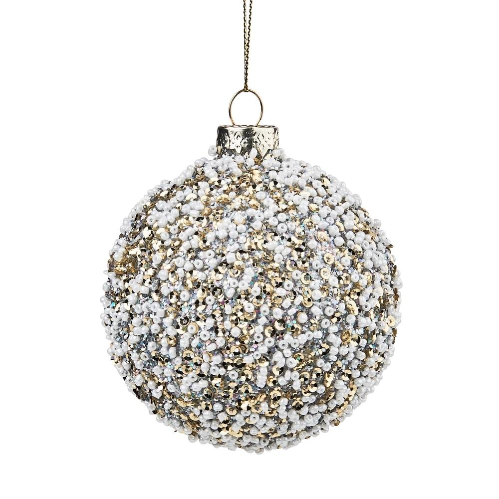HANG ON Vánoční koule s perlami 8 cm - zlatá/bílá