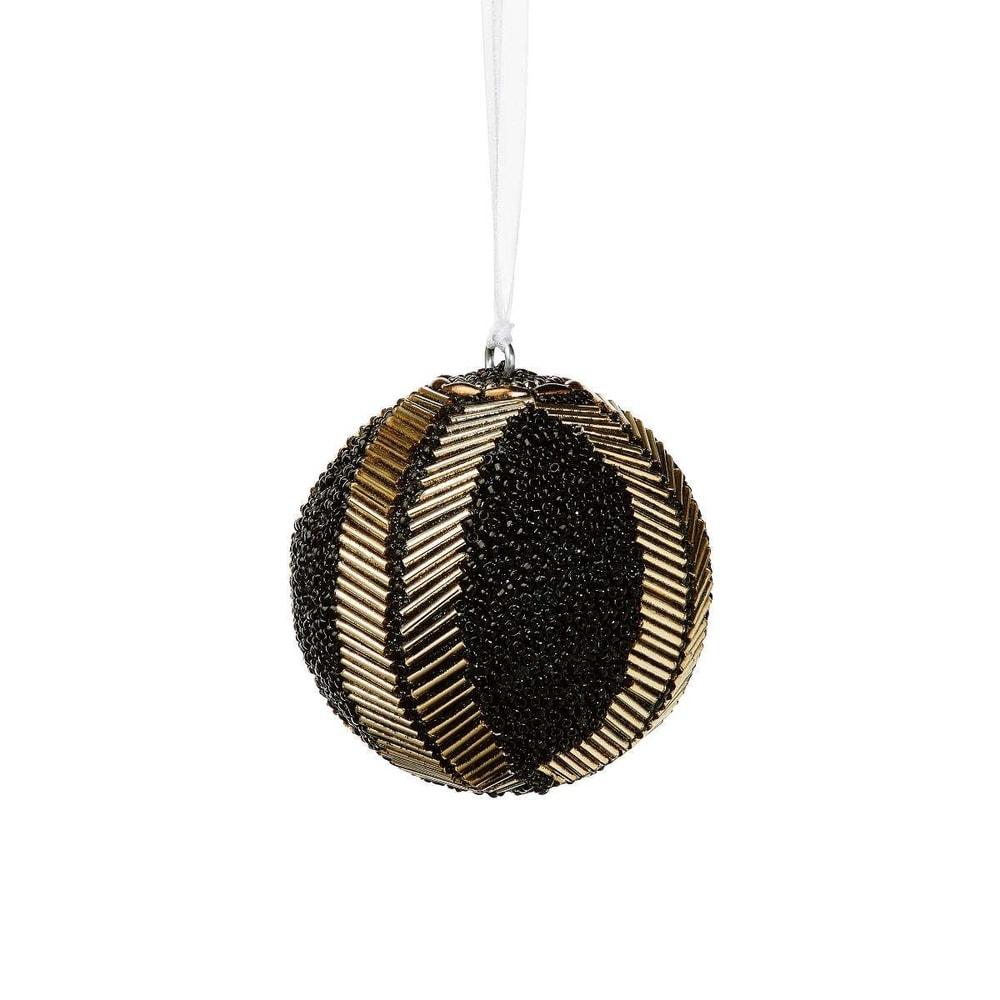 HANG ON Vánoční koule s perlami 8 cm - černá
