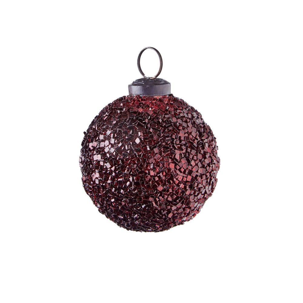 HANG ON Vánoční koule popraskaný dekor 7 cm - tm. červená