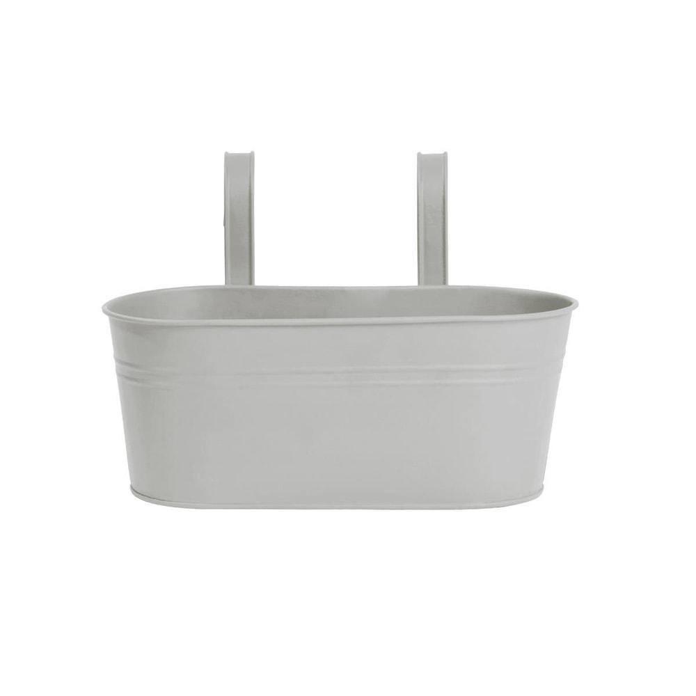 ZINC Závěsný truhlík oválný pro 2 rostliny 33 cm - šedá