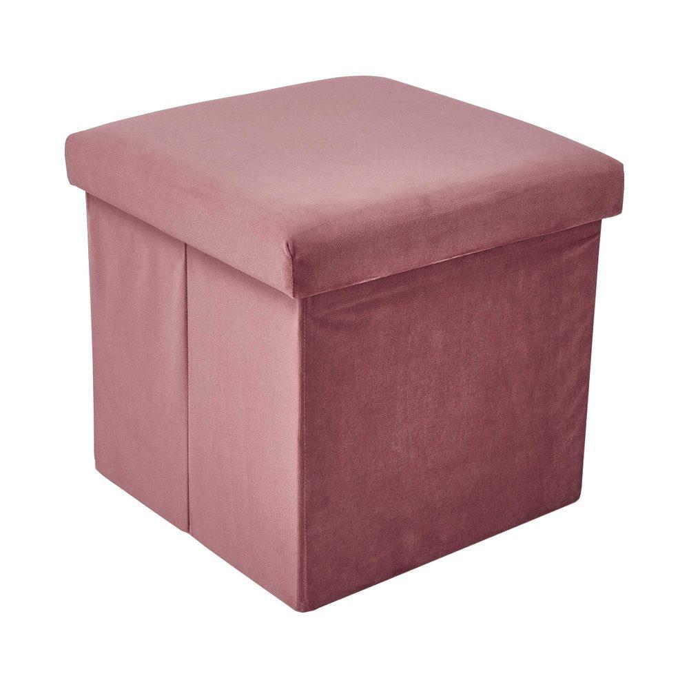 BOXSPRING Skládací sametová stolička s úložným prostorem - sv. růžová