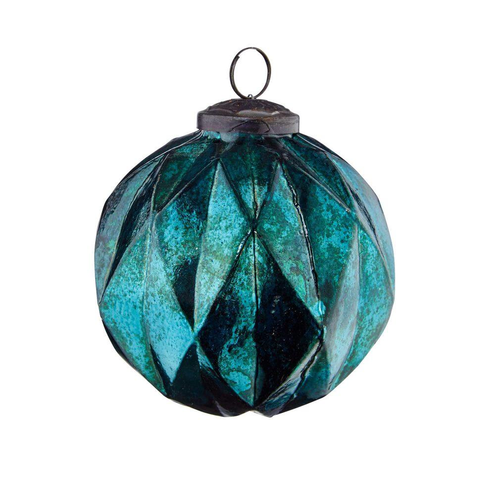 HANG ON Ozdoba vánoční koule káry 8 cm - petrolejová