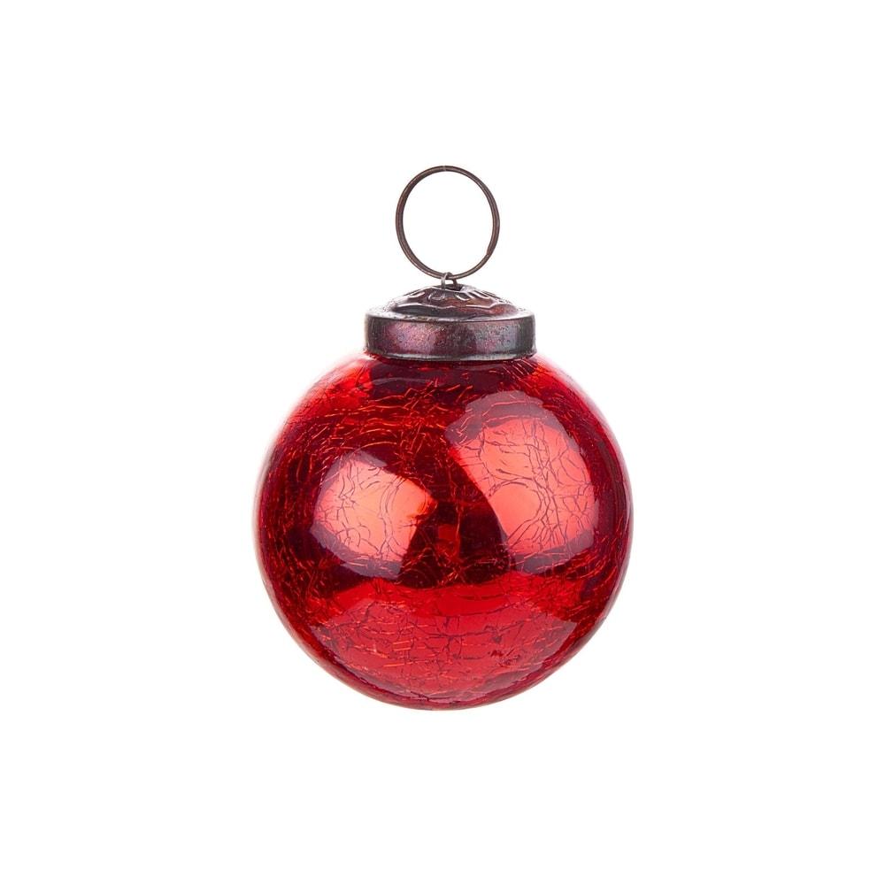 HANG ON Vánoční koule popraskaný dekor 6 cm - červená