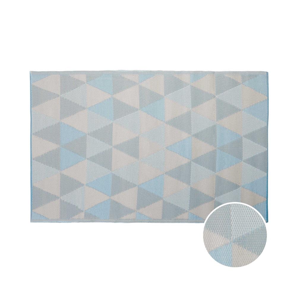 COLOUR CLASH Vnitřní a venkovní koberec trojúhelníky 180 x 120 cm - pastelově modrá