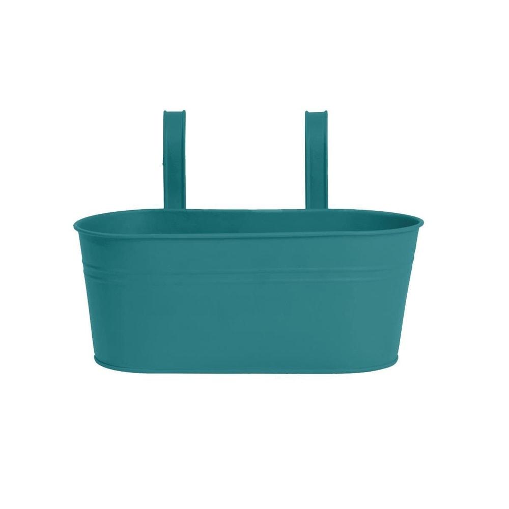 ZINC Závěsný truhlík oválný pro 2 rostliny 33 cm - petrolejová