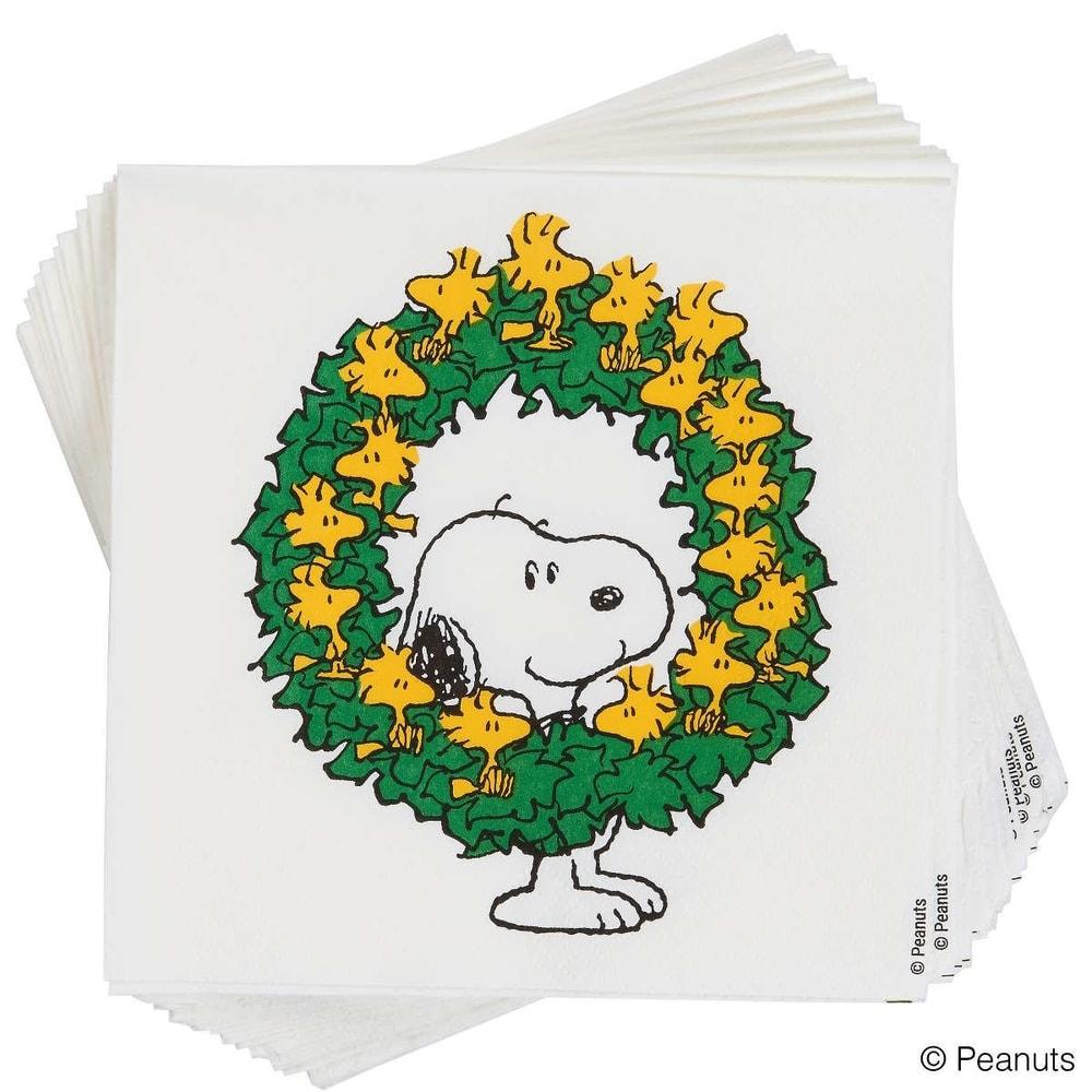 PEANUTS Papírové ubrousky Snoopy s věncem