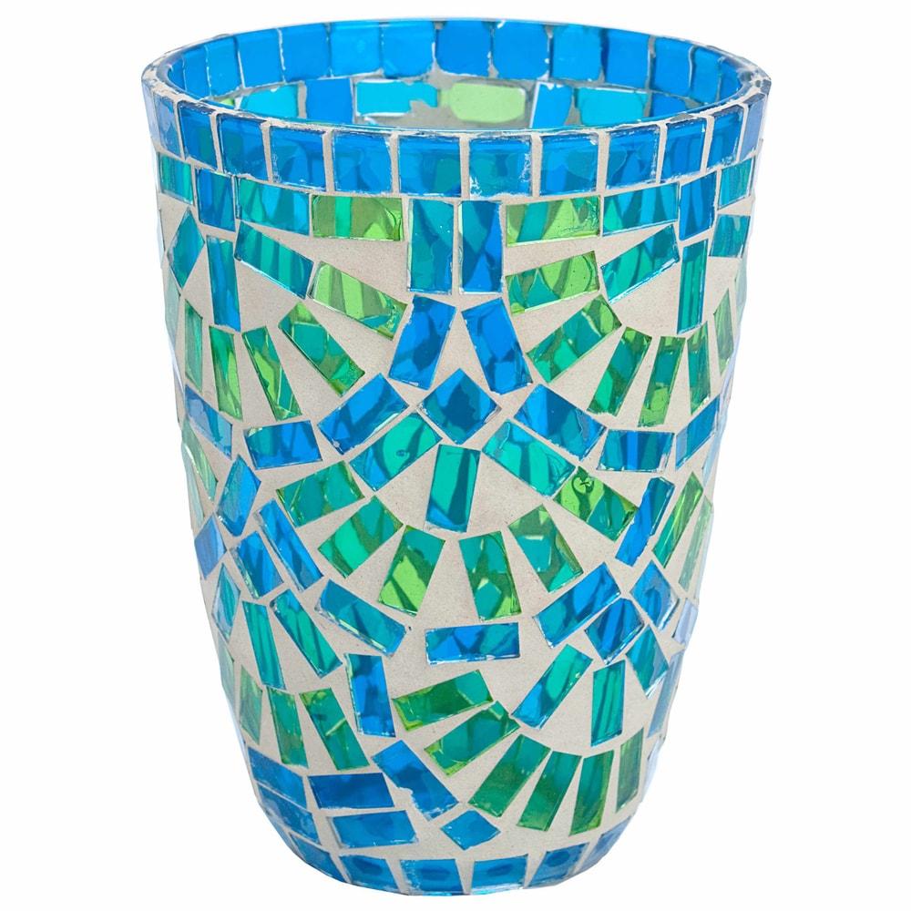 TIFFANY Lucerna na svíčku 12 cm - modrá/zelená
