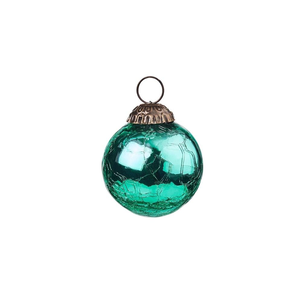 HANG ON Vánoční koule popraskaná 6 cm - tyrkysová