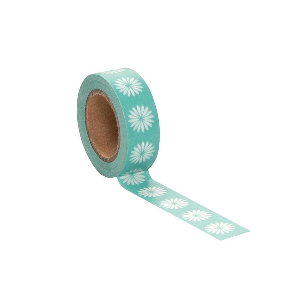 TAPE Lepicí páska květiny - zelená/bílá