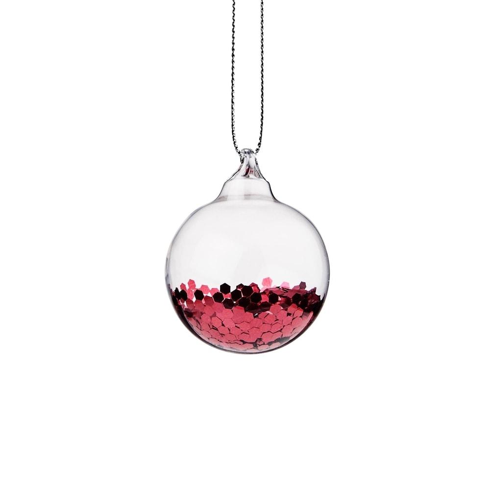 HANG ON Vánoční koule se třpytkami 4 cm - červená