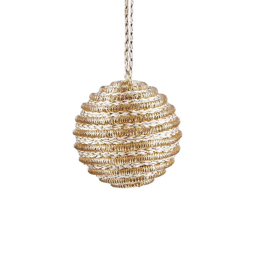 HANG ON Vánoční ozdoba koule s proužky 6 cm - zlatá
