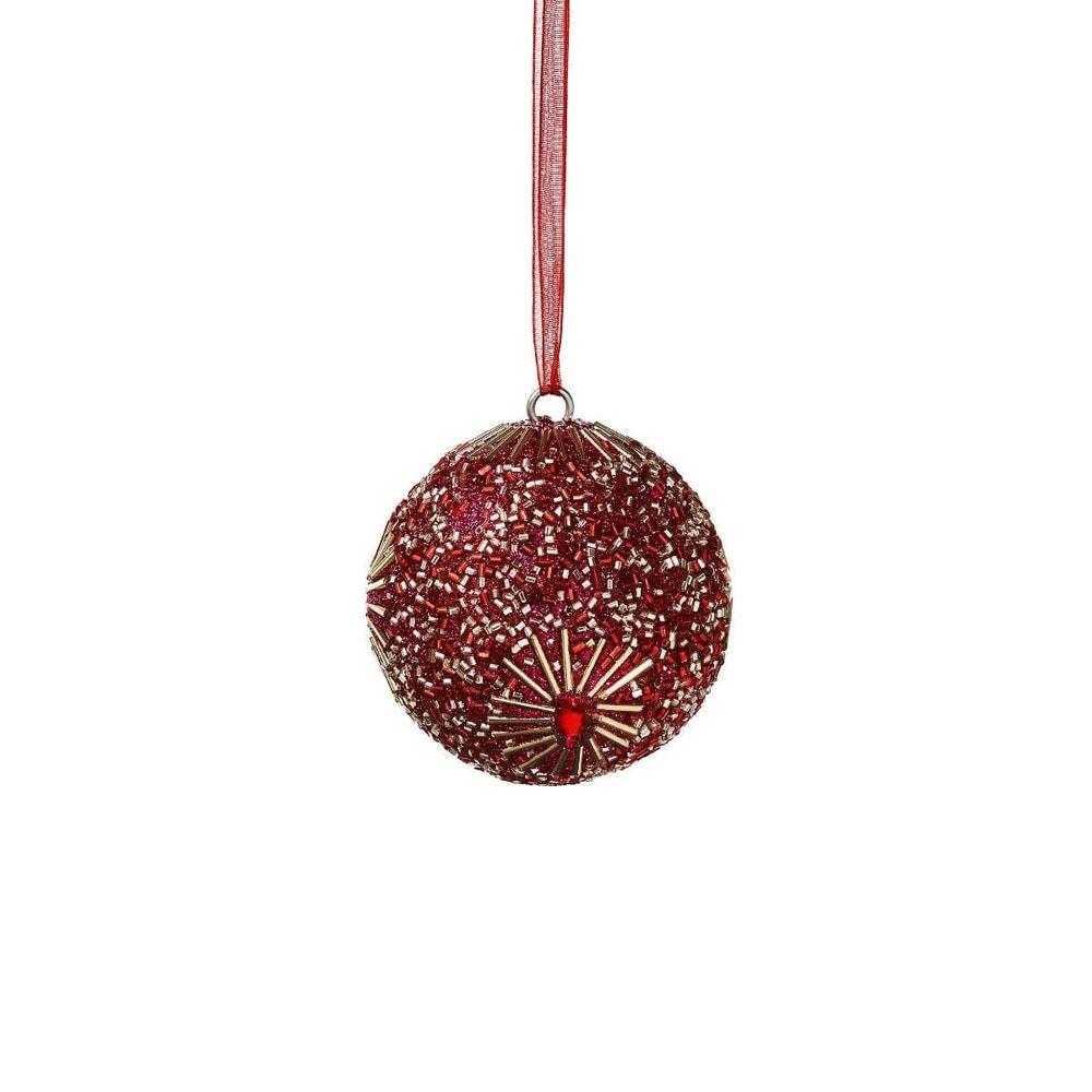 HANG ON Vánoční koule s perlami 5 cm - růžová