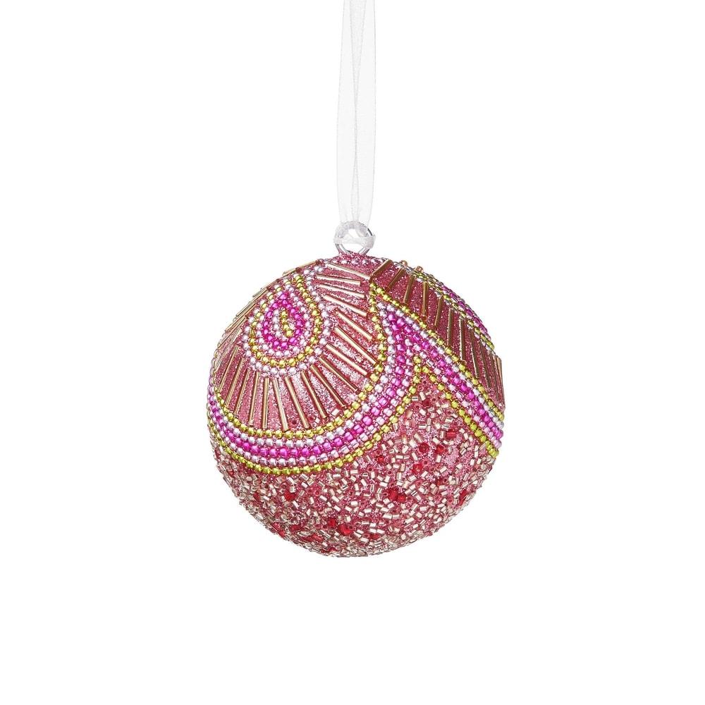 Fotografie HANG ON Vánoční koule s perlami 8 cm - sv. růžová